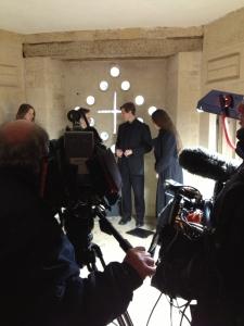 Filming inside the Triangular Lodge