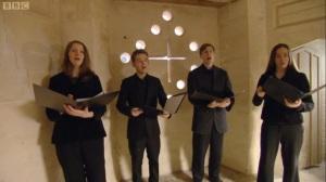 Singing Jollet's 'Adoramus te' inside the Triangular Lodge